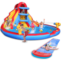 Kid's Wild Inflatable Castle & Double Water Slide