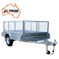 7x5ft Welded Galvanised Box Trailer w 600mm Cage