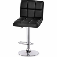 2x Grid PU Leather Gas Lift Bar Stool in Black