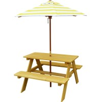 Sunset Kids Wooden Picnic Table with Umbrella