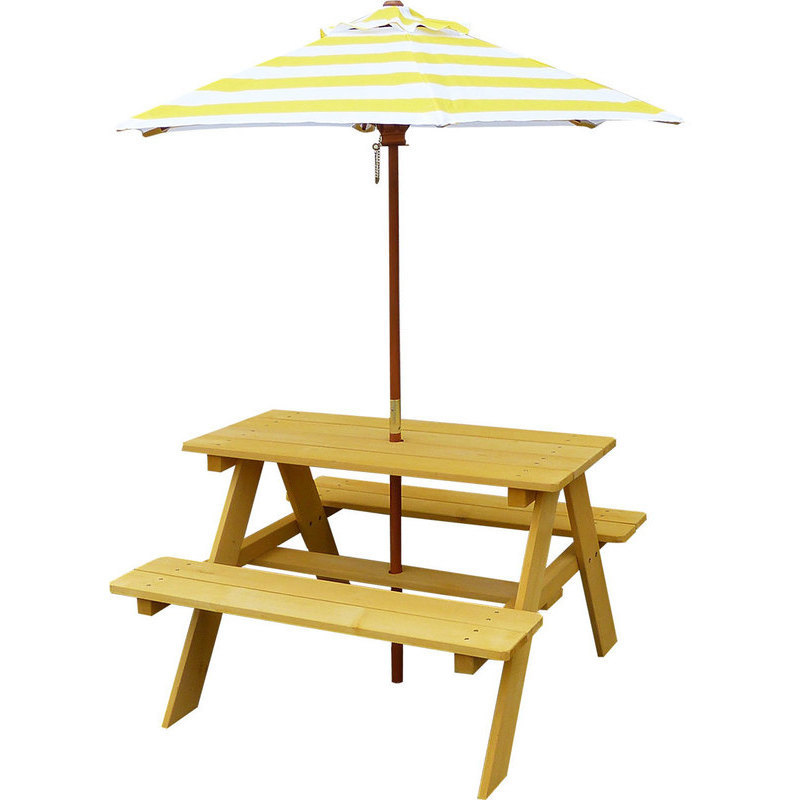 Sunset kids wooden picnic table with umbrella buy early - Children s picnic table with umbrella ...