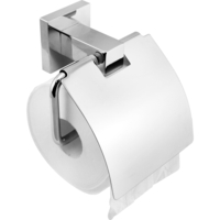Bathroom Toilet Paper Holder + Square Cover Steel