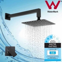 Black Shower Head and Square Arm Mixer Tap Set