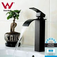 Bathroom Square Tall Waterfall Mixer Tap in Black