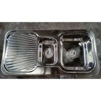 Double Stainless Steel Sink w/ Drainboard 980x480mm
