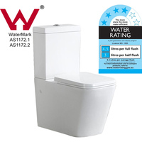 Squared Ceramic Dual Flush Toilet Suite in White