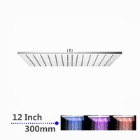 LED Chrome Water Saving Rainfall Shower Head 12in