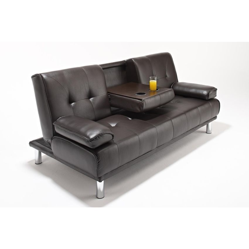 3 seater pu leather sofa bed with cup holders brown buy leather sofas Loveseat with cup holders