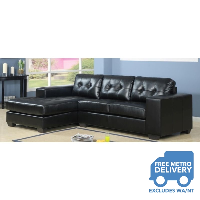 Byron 3 seat black leather couch with chaise lounge buy for Black leather sofa chaise lounge
