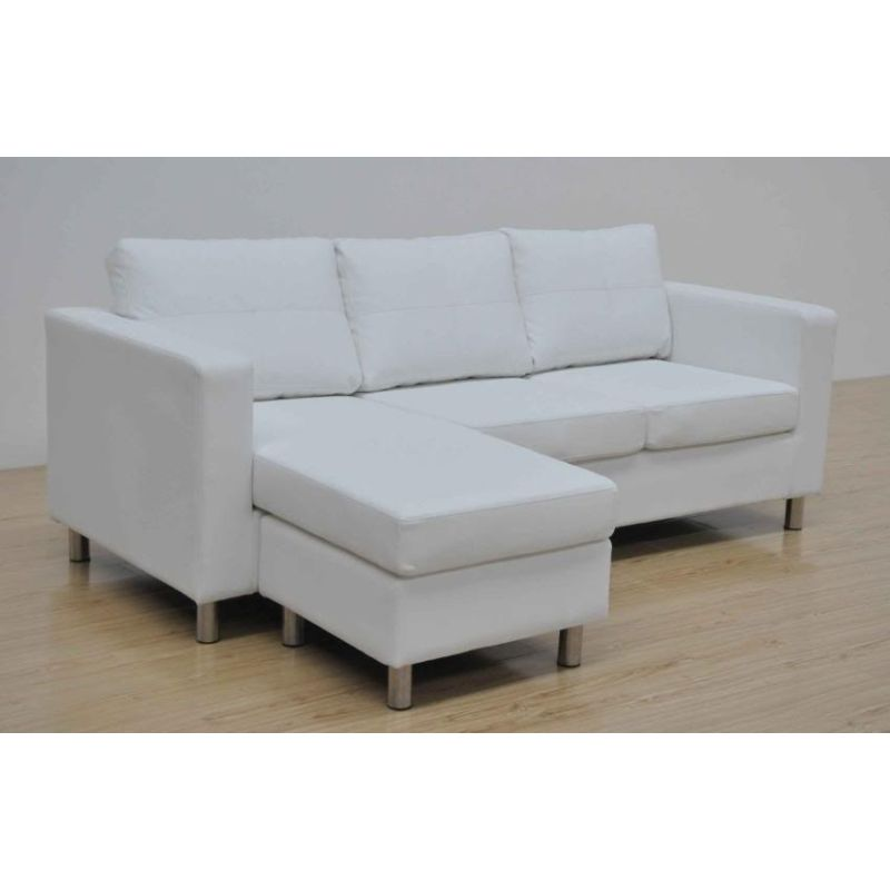 Pu leather sofa couch chaise lounge in black white buy for Black chaise lounge sofa
