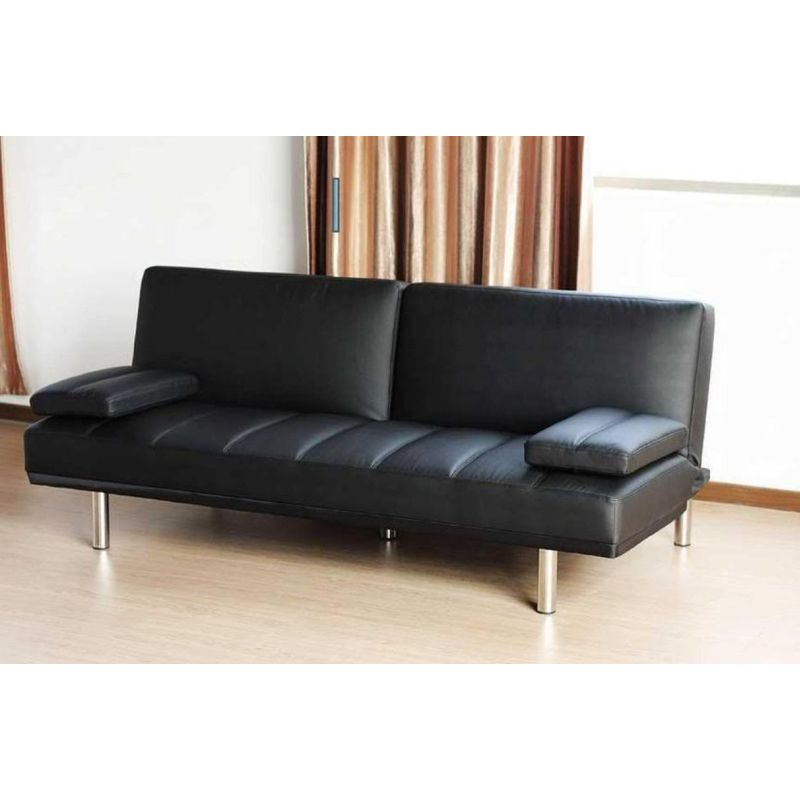 Click Clack Sofa Bed Couch in Black Italian Leather  Buy Sofa Beds