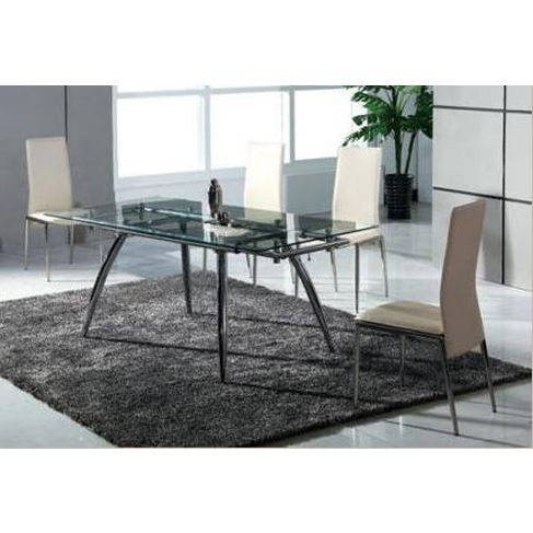 Extendable Glass Dining Table Leather PU Chair Set Buy Furniture