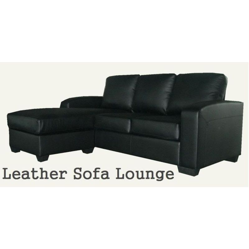 3 seater pu leather modular sofa chaise lounge buy for Black leather sofa chaise lounge