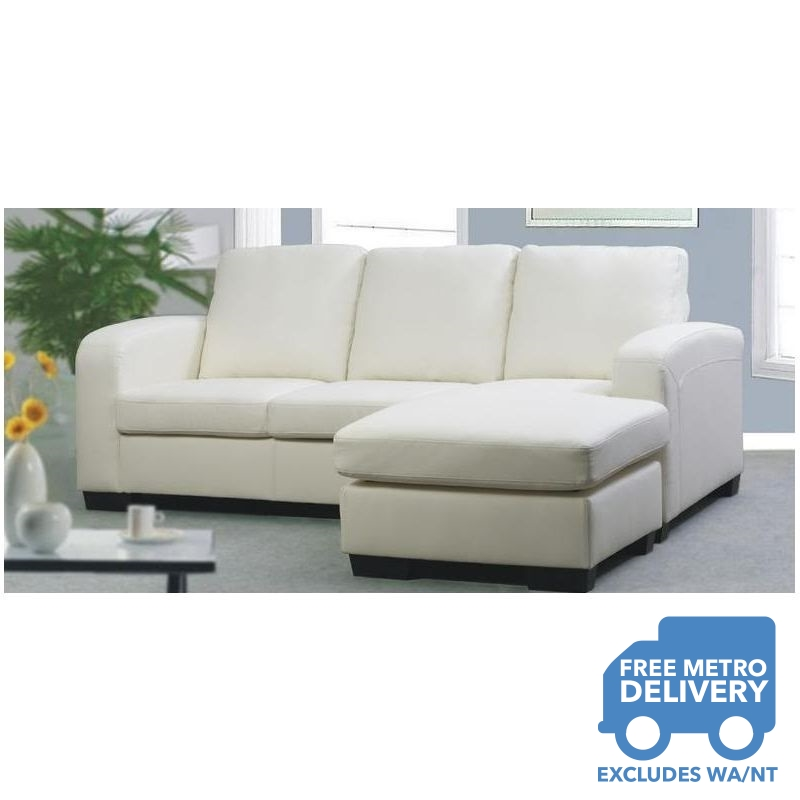 White bonded leather sofa couch with chaise lounge buy for Bonded leather sectional sofa with chaise