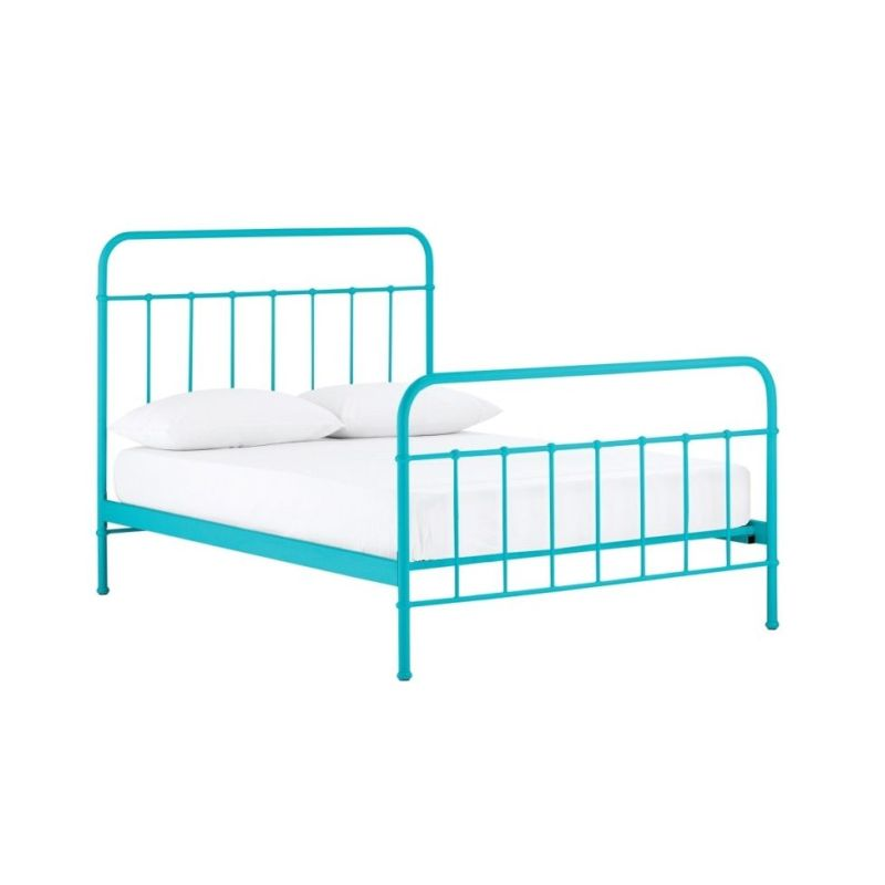 Jessica king single metal bed frame in blue buy king for King metal bed frame