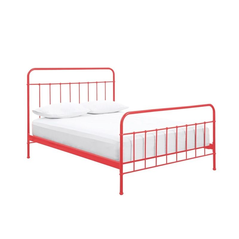 Jessica queen size full metal bed frame in red buy queen for Metal bed frame full