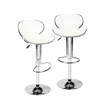 2x Half Contour PU Leather Gas Lift Bar Stool White