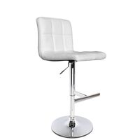 2x Grid PU Leather Chrome Gas Lift Bar Stool White