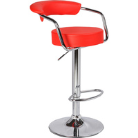 2x Minimalist PU Leather Gas Lift Bar Stool Red