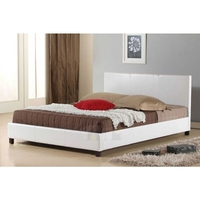 PU Leather Upholstered Double Size Bed Frame White