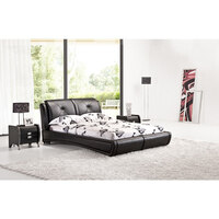 Grande King Size PU Leather Bed Frame Black