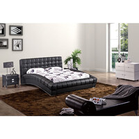 Curved Elegance King PU Leather Bed Frame in Black