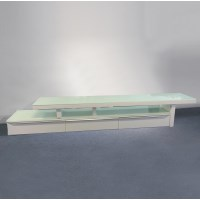 Abstract TV Stand w/ Glass Top in High Gloss White