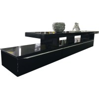 Abstract TV Stand w/ Glass Top in High Gloss Black