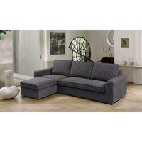 Fabric Sofa with Ottoman or Chaise Lounge in Black