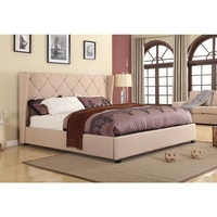 Louvre Queen Size Wingback Bed Frame in Beige