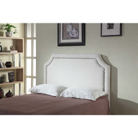Julia Queen Size Fabric MDF Studded Headboard White