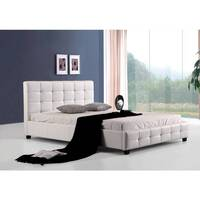 Double Size PU Leather Quilted Bed Frame in White
