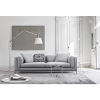 Carlton Modern 2 Seater Sofa Couch in Grey Fabric