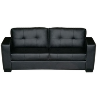 Nikki 3 Seater PU Leather Sofa Couch in Black
