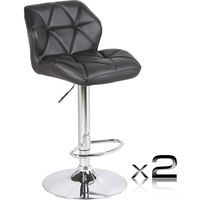 2x Diamond PU Leather Gas Lift Bar Stools in Black
