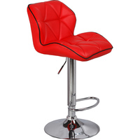 2x Diamond PU Leather Gas Lift Bar Stools in Red