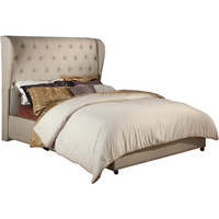 Queen Size Upholstered Wingback Bed Frame in Beige