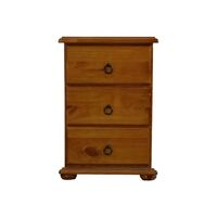 Wooden 3 Draw Bedside Table in Honey Brown Pine
