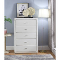 Tallboy Chest of 5 Drawers White PU Matte Leather