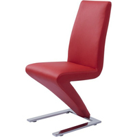2x Contemporary Z Dining Chairs in Red PU Leather