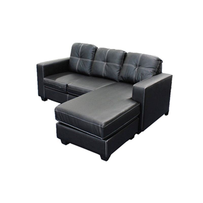 Pu leather lounge suite with chaise lounge in black buy for Black chaise lounge sofa