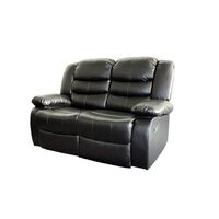 2 Seat Recliner Couch Chair in Black Bonded Leather