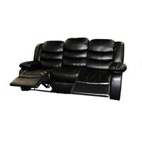 3 Seater Recliner Lounge Sofa Black Bonded Leather