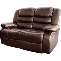 Brown Bonded Leather 2 Seater Recliner Lounge Chair