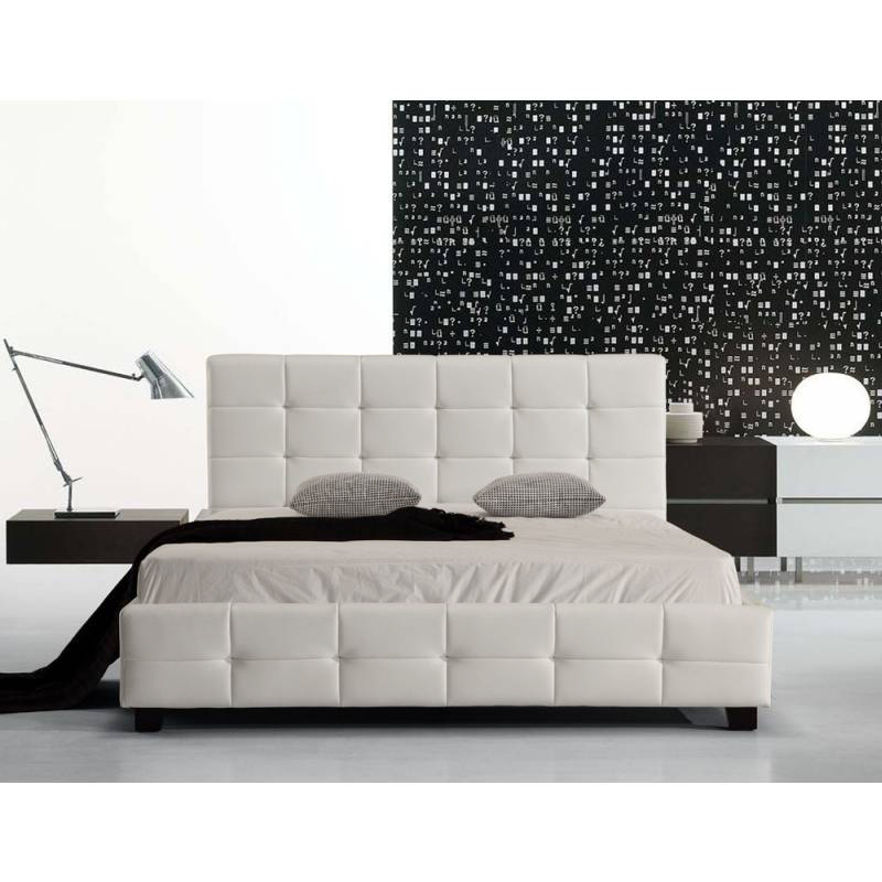 Double size pu leather quilted bed frame in white buy for Quilted bed frame