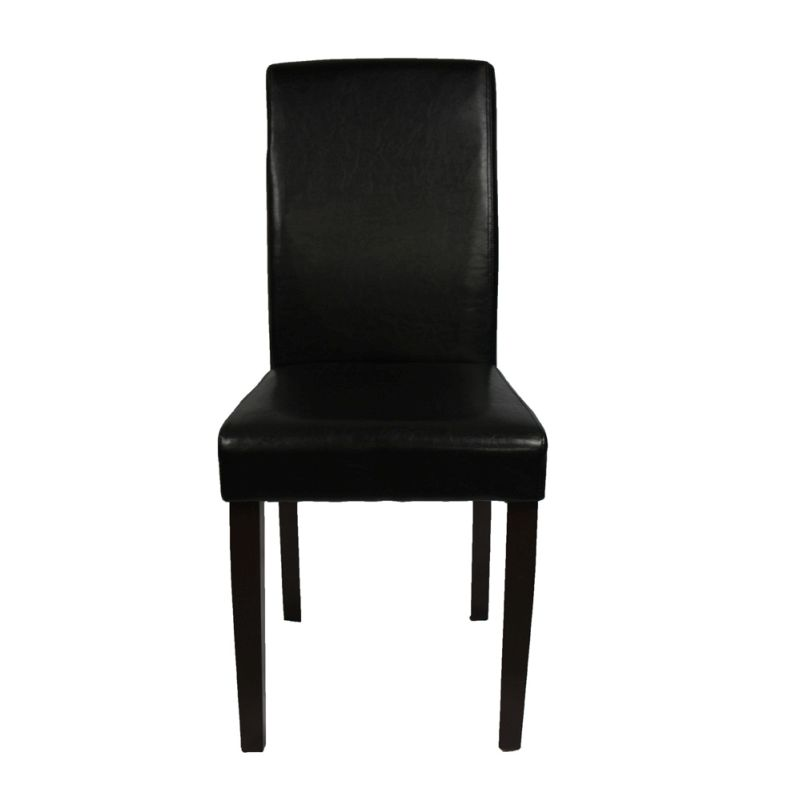 2 black leather high back dining room chairs buy click for Black leather dining room chairs