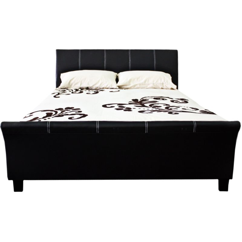 pu leather upholstered queen size sleigh bed frame buy queen bed frame. Black Bedroom Furniture Sets. Home Design Ideas