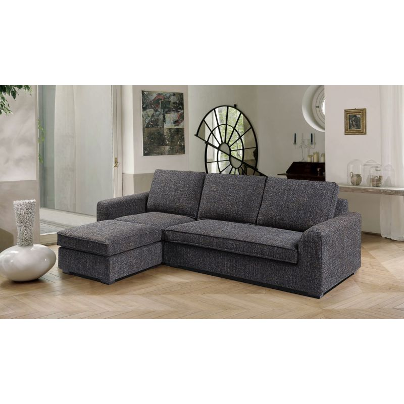 Fabric sofa with ottoman or chaise lounge in black buy sofas for Black fabric sectional sofa with chaise
