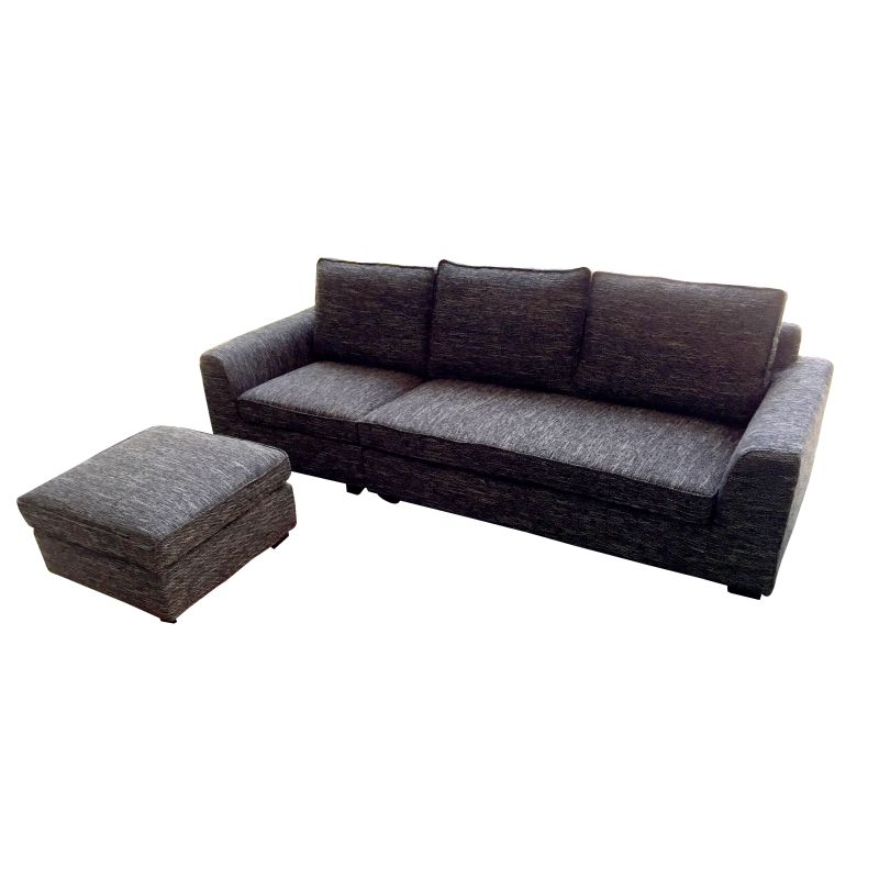 Fabric sofa with ottoman or chaise lounge in black buy for Black chaise lounge sofa