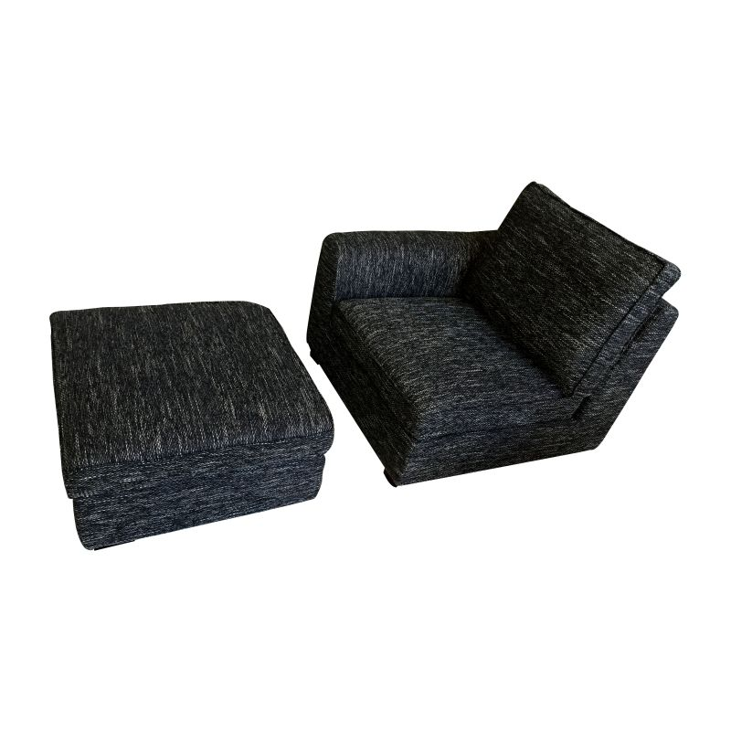 Fabric sofa with ottoman or chaise lounge in black buy sofas for Black chaise lounge sofa